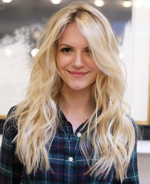 Long Light Blonde Hair With Darkened Roots