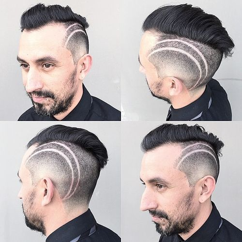 men's hairstyle with side shaven designs