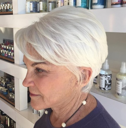 60+ White Layered Pixie
