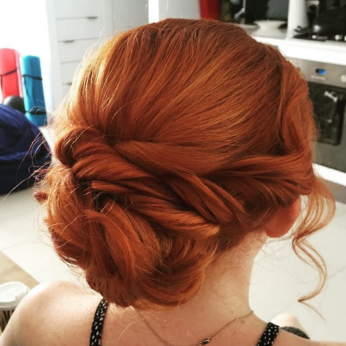 Red Bun Updo