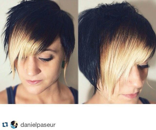 short angled haircut with highlighted bangs