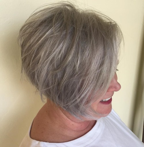 Short Tousled Gray Brown Hairstyle