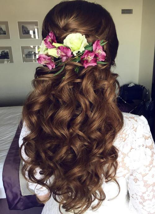 Curly Wedding Half Updo With Flowers
