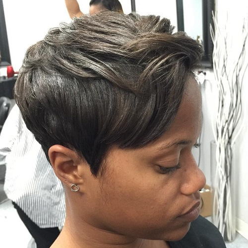 Ash Brown Pixie For Black Women