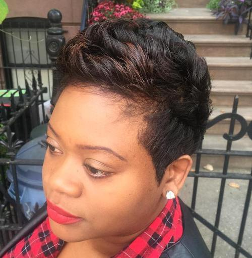 short black haircut with subtle highlights