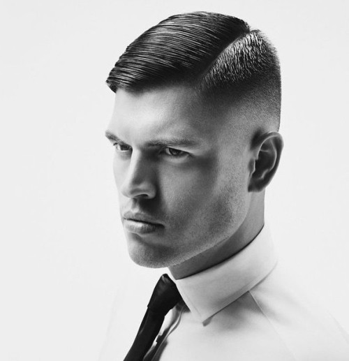 side-parted tapered mens haircut