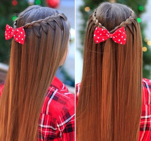 cute half up braided hairstyle for girls