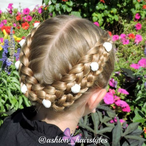 Centre Parted Braided Updo For Girls