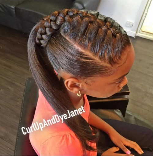 Sleek Ponytail With A Top Braid