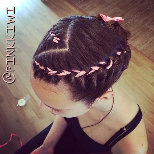 braided girls hairstyle with ribbon