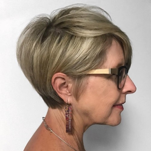 Dishwater Blonde Tapered Pixie With Glasses