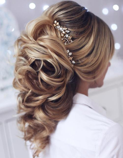 40 gorgeous wedding hairstyles for long hair bridal long curly ponytail with a bouffant junglespirit Gallery