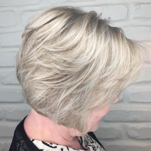 Short Ash Blonde Hairstyle For Older Women