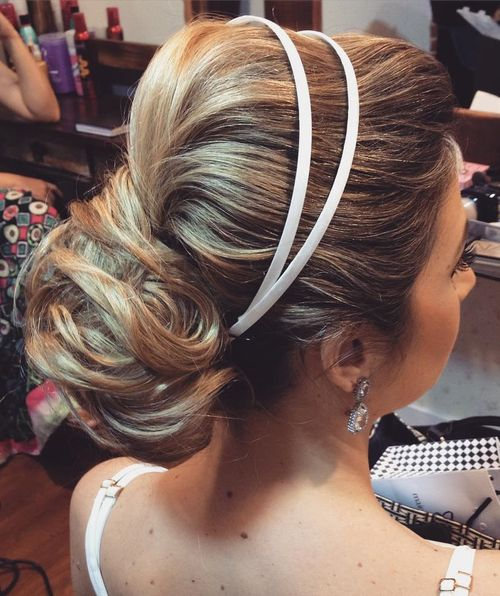wedding bouffant updo for long hair