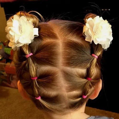 pigtails and buns updo for 6 year old girls