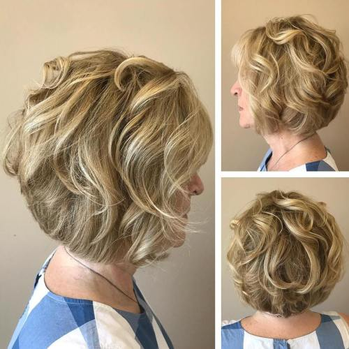 Honey Blonde Curled Bob Over 60
