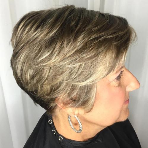 Short Layered Hairstyle For Older Ladies