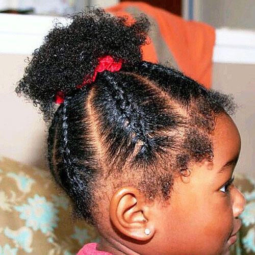 Black Little Girlu0027s Braided Hairstyle For Short Hair