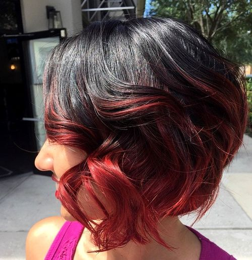 black bob with red ombre highlights