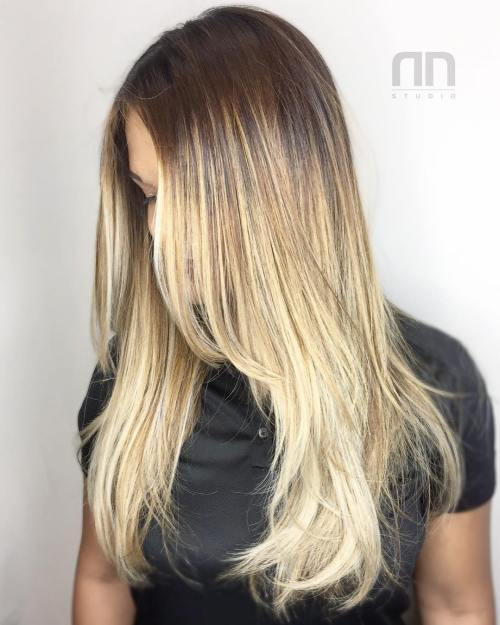 Blonde Balayage Hair With Roots Fade