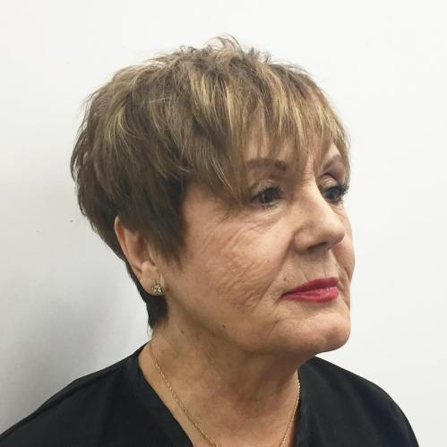 Older Women's Tapered Razored Pixie Haircut
