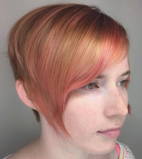 Strawberry Blonde Bob With Pink Highlights