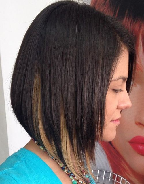 dark brown angled bob