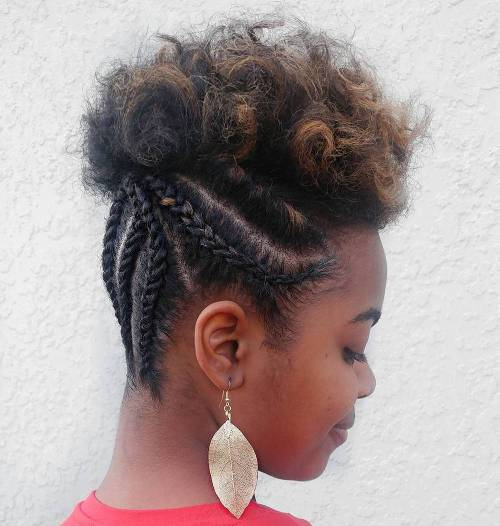 Half Braided Updo For Short Natural Hair