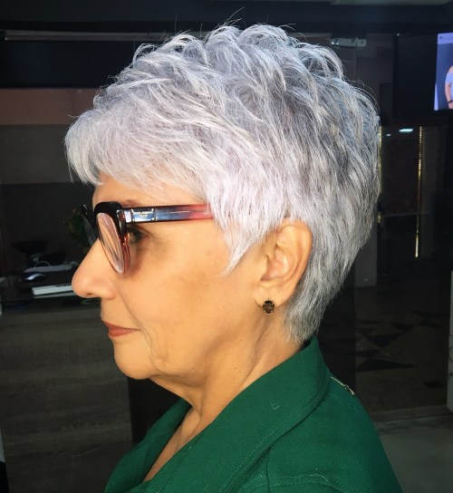 Feathered Silver Pixie Hairstyle