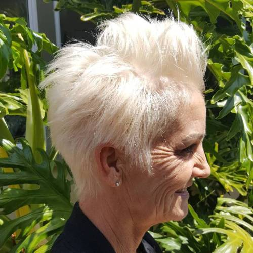 Spiky Gray Pixie For Older Women