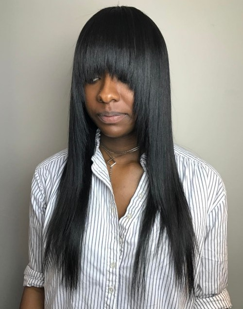 Black Straight Layered Hairstyle With Bangs