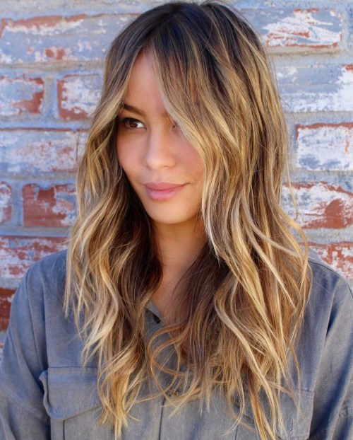 Long Bronde Shag Hairstyle