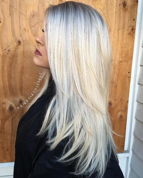 Long Layered Ash Blonde Hair With Root Fade