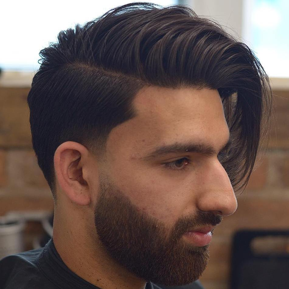 Long Top Short Sides Side-Swept Hairstyle