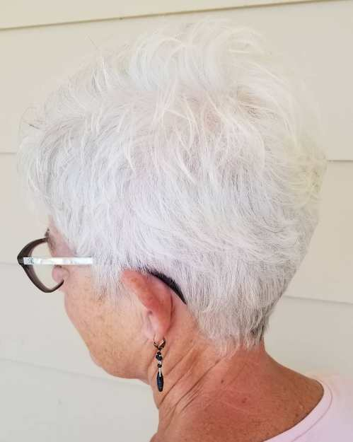 Over 70 Layered Tapered Pixie