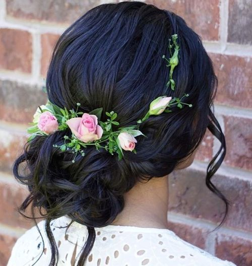 Black Wavy Updo With Flowers