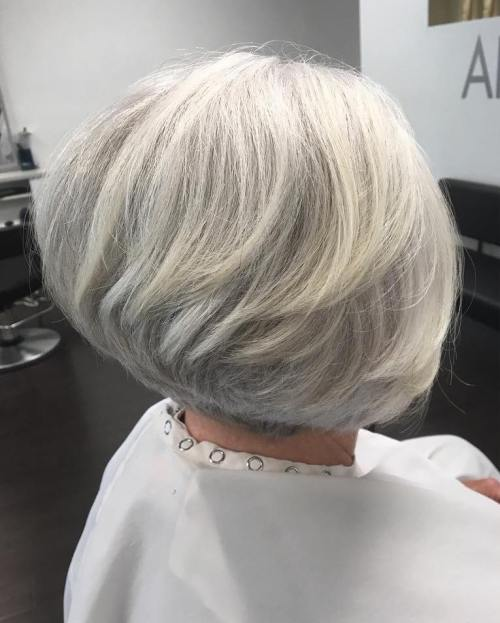 Stacked Gray Bob for Thick Hair
