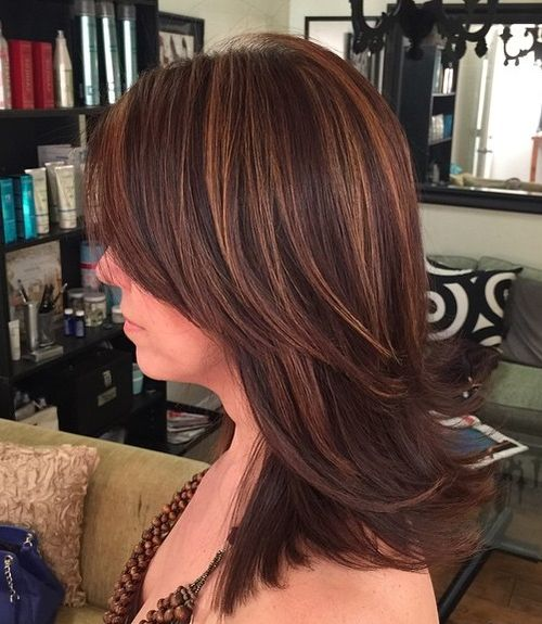 medium layered brunette haircut