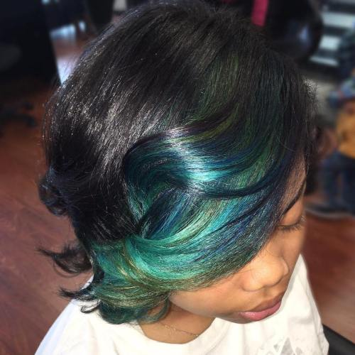 Black Bob With Teal Highlights