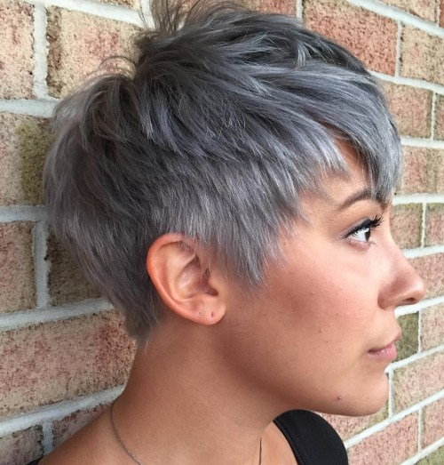 Short Gray Pixie Cut For Thick Straight Hair