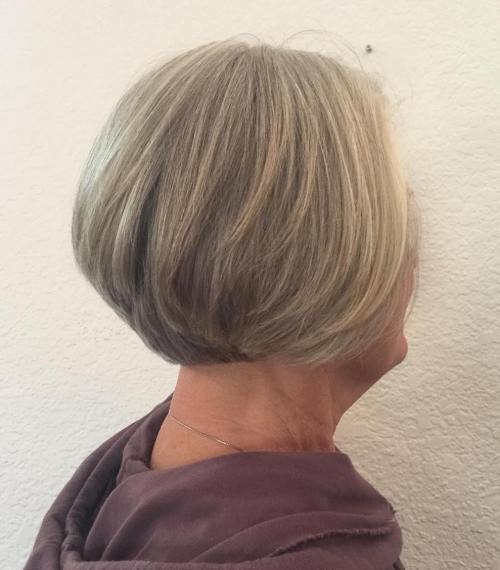 Short Stacked Gray Blonde Bob Over 70