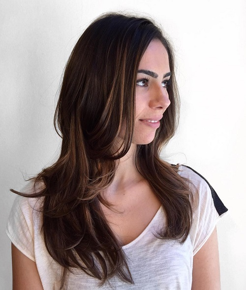 Wonderful Long Layered Brunette Hairstyle