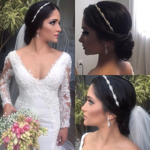 40 chic wedding hair updos for elegant brides wedding updo with veil junglespirit Images