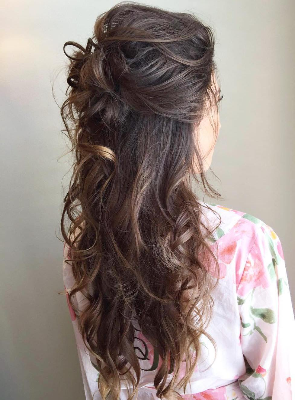 Messy Curly Half Updo For Long Hair