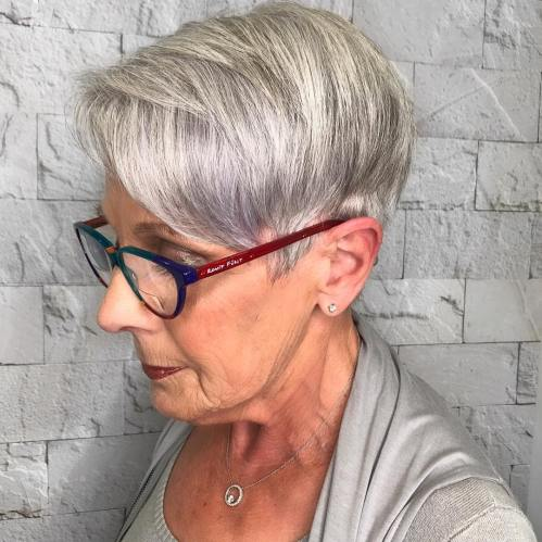 Layered Gray Pixie with Side Bangs