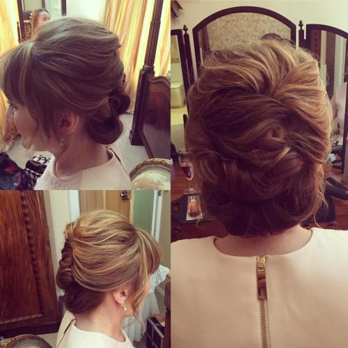 Twisted Updo With Bangs
