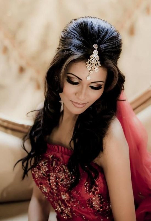 long Indian wedding hairstyle