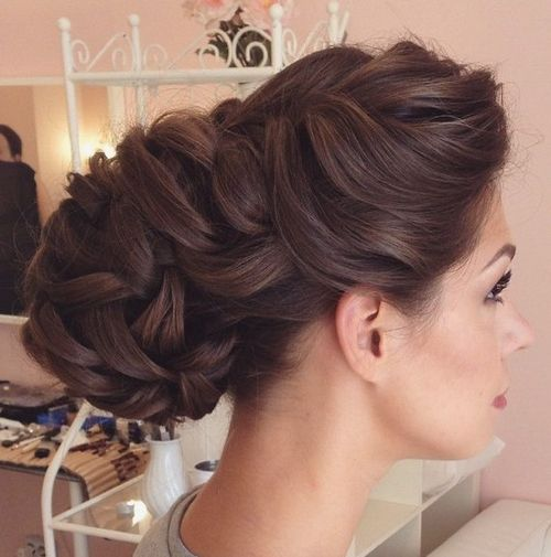 loose braided bridal updo for long thick hair