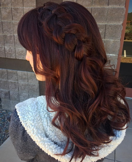 Long Curly Hairstyle With Bangs And Braid