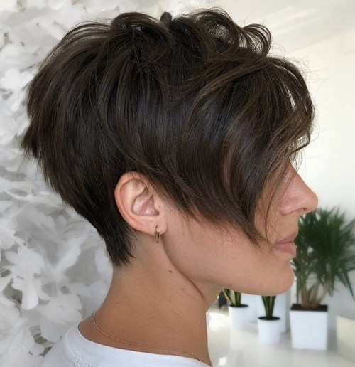 Messy Tapered Pixie With Bangs